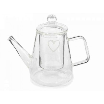Glass Teapot with a heart