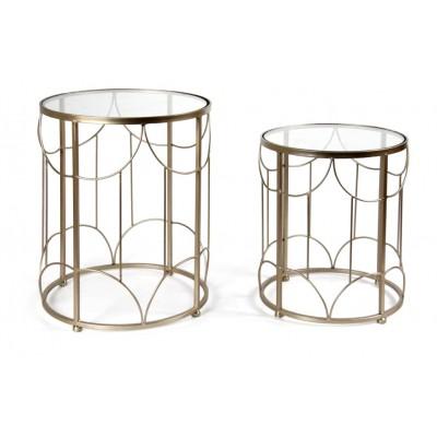 Set tavolini oro e vetro