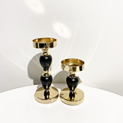 Candelabro metallo oro e nero